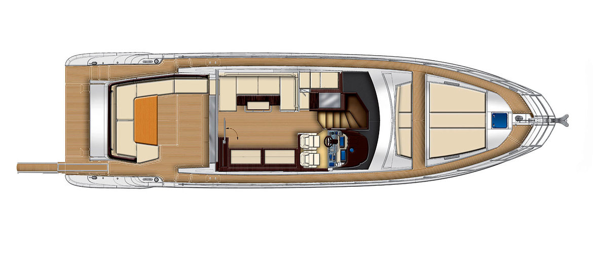 Main Deck (2 Sessel und ein Sofa an Backbord) Azimut 55S